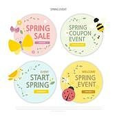 연례행사 (사건), 봄, 꽃, 쇼핑 (상업활동), 배너 (템플릿), 웹배너 (인터넷), 온라인쇼핑