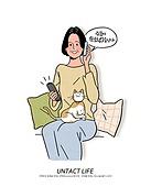 라이프스타일, 배달 (일), 프레시 (컨셉), 모바일쇼핑, 홈쇼핑, 비대면서비스, 쇼핑 (상업활동), 고양이 (고양잇과), 중년여자 (성인여자), 온라인쇼핑