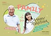 그래픽이미지, 가족, 가정의달, 5월, 할아버지 (조부모), 포옹, 손녀, 중학생