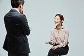 남성, 여성, 대화, 비즈니스, 미소