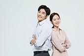 여성, 미소, 커플, 가정경제 (금융), 행복, 부부, 등맞대기