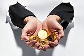 비즈니스, 사람손 (주요신체부분), 홀딩 (만지기), 구겨짐 (재질), 경제, 동전, 금화, 비트코인