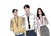사람, 사람들, 희망 (컨셉), 라이프스타일 (주제), 밝은표정, 봄, 꽃잎, 화이트칼라 (전문직), 커피 (뜨거운음료), 커피브레이크 (휴식), 동료 (역할)