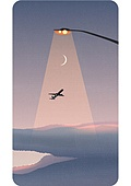 휴대폰 (전화기), 백그라운드, 풍경 (컨셉), 백그라운드 (주제), 하늘, 달 (하늘), 가로등, 초승달, 일몰 (땅거미), 비행기
