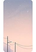 휴대폰 (전화기), 백그라운드, 풍경 (컨셉), 백그라운드 (주제), 하늘, 일몰 (땅거미), 초승달, 달 (하늘), 전봇대