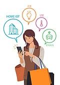 집, 집 (주거건물), 주거지역 (구역), 말풍선, 쇼핑백, 스마트폰