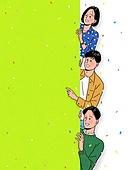 사람들, 꽃가루, 밝은표정, 프레임, 카피스페이스 (콤퍼지션), 포인팅 (손짓), 청년 (성인)