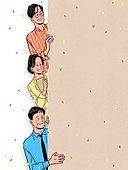 사람들, 꽃가루, 밝은표정, 프레임, 카피스페이스 (콤퍼지션), 중년 (성인)