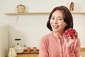 딸, 엄마, 석류, 건강식, 먹기