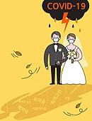 코로나바이러스 (바이러스), 코로나19 (코로나바이러스), 결혼 (사건), 신랑, 신부 (결혼식역할), 걱정 (어두운표정), 웨딩드레스 (드레스), 턱시도, 마스크 (방호용품)