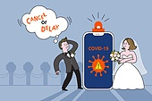코로나바이러스 (바이러스), 코로나19 (코로나바이러스), 결혼 (사건), 신랑, 신부 (결혼식역할), 걱정 (어두운표정), 웨딩드레스 (드레스), 턱시도, 스마트폰
