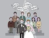코로나바이러스 (바이러스), 코로나19 (코로나바이러스), 결혼 (사건), 신랑, 신부 (결혼식역할), 걱정 (어두운표정), 웨딩드레스 (드레스), 턱시도, 결혼식하객 (결혼식역할), 말풍선, 마스크 (방호용품)