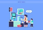 쇼핑 (상업활동), 비대면 (사회이슈), 소비, 키오스크 (간이판매대), 계산 (움직이는활동), 셀프서비스 (컨셉), 슈퍼마켓 (가게)