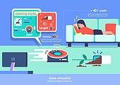 가전제품 (생활용품), 인공지능, 지성 (컨셉), 원거리 (위치묘사), 사물인터넷, 로봇청소기 (진공청소기)