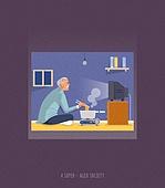 외로움, 소외, 소외계층, 텔레비전 (전기용품), 라면, 노인 (성인)