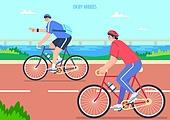 벡터 (일러스트), 취미, 여가 (주제), 휴식 (정지활동), 운동, 자전거, 타기 (움직이는활동), 자전거도로
