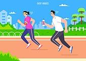 벡터 (일러스트), 취미, 여가 (주제), 휴식 (정지활동), 운동, 조깅 (운동), 공원