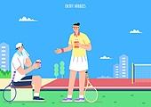 벡터 (일러스트), 취미, 여가 (주제), 휴식 (정지활동), 테니스 (라켓스포츠)