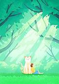 환상 (컨셉), 동화, 사람, 동물, 상상력 (컨셉), 어린이 (나이), 숲, 나무, 햇빛 (빛효과)