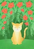 동물, 꽃, 풍경 (컨셉), 봄, 고양이 (고양잇과)