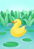 동물, 꽃, 풍경 (컨셉), 봄, 오리 (민물새)
