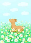 동물, 꽃, 풍경 (컨셉), 봄, 사슴 (발굽포유류), 꽃밭