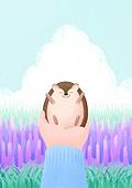 동물, 꽃, 풍경 (컨셉), 봄, 고슴도치