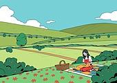 풍경 (컨셉), 봄, 자연 (주제), 맑은하늘 (하늘), 사람, 원거리, 소풍 (아웃도어), 여성 (성별), 반려동물