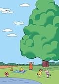 풍경 (컨셉), 봄, 자연 (주제), 맑은하늘 (하늘), 사람, 원거리, 풀 (식물), 나무, 어린이 (나이), 소풍