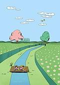 풍경 (컨셉), 봄, 자연 (주제), 맑은하늘 (하늘), 꽃밭, 구름, 어린이 (나이), 시냇물
