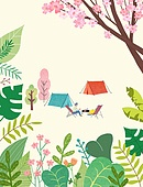 일러스트, 풍경 (컨셉), 계절, 휴가 (주제), 휴식, 여행