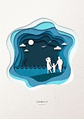 페이퍼아트, 종이, 가족, 실루엣, 5월, 함께함 (컨셉), 커플, 부부, 바다, 해변