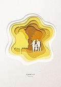 페이퍼아트, 종이, 가족, 실루엣, 5월, 나무, 부부, 함께함 (컨셉), 자식 (가족), 공원, 걷기 (물리적활동)