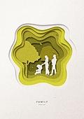 페이퍼아트, 종이, 가족, 실루엣, 5월, 나무, 부부, 함께함 (컨셉), 유모차, 아기 (나이), 공원, 걷기 (물리적활동)