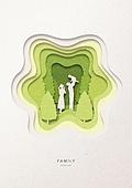 페이퍼아트, 종이, 가족, 실루엣, 5월, 나무, 부부, 함께함 (컨셉), 자식 (가족), 어린이 (나이), 걷기 (물리적활동)