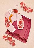 페이퍼아트, 종이, 한복, 전통문화 (주제), 한국전통, 패턴 (묘사), 옷, 치마, 저고리