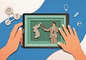 페이퍼아트, 종이, 사람손 (주요신체부분), 손짓 (제스처), 스마트기기 (정보장비), 디지털태블릿 (개인용컴퓨터), 공부