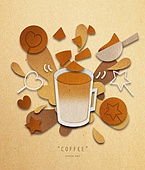 페이퍼아트, 종이, 음료, 커피 (뜨거운음료), 팝업, 팝업북, 달고나, 달고나커피
