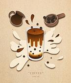 페이퍼아트, 종이, 음료, 커피 (뜨거운음료), 팝업, 팝업북, 황설탕 (설탕), 흑당음료 (차가운음료), 버블티