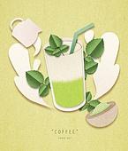 페이퍼아트, 종이, 음료, 커피 (뜨거운음료), 팝업, 팝업북, 녹차라떼, 녹차