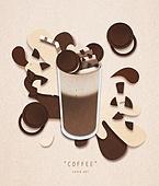 페이퍼아트, 종이, 음료, 커피 (뜨거운음료), 팝업, 팝업북, 쿠키앤크림아이스크림