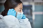 코로나바이러스 (바이러스), 코로나19 (코로나바이러스), 방호복 (방호용품), 병원 (의료시설), 병동근무원 (의료직), 마스크 (방호용품), 의사, 간호사, 의사 (의료직), 위기극복 (컨셉), 한국인, 희망 (컨셉), 노력