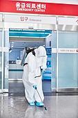 코로나바이러스 (바이러스), 코로나19 (코로나바이러스), 사회적거리두기 (사회이슈), 전염병 (질병), 방호복, 방호용품 (옷), 방역, 방역 (소독), 병원 (의료시설), 소독 (움직이는활동)