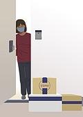 걱정 (어두운표정), 우울, 코로나바이러스 (바이러스), 코로나19 (코로나바이러스), 배달 (일), 문 (출입구), 마스크 (방호용품)