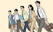 일렬 (배열), 사람들 (사람의수), 여러명[3-5] (사람들), 청년 (성인), 밝은표정, 비즈니스, 화이트칼라 (전문직), 슈트 (옷)