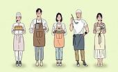 일렬 (배열), 사람들 (사람의수), 여러명[3-5] (사람들), 청년 (성인), 밝은표정, 사업가 (화이트칼라), 상인 (소매업자)