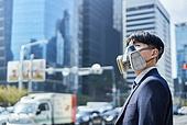 코로나바이러스 (바이러스), 코로나19 (코로나바이러스), 사회적거리두기 (사회이슈), 위기극복 (컨셉), 대기오염 (공해), 초미세먼지, 대기오염, 공해, 공해마스크 (마스크), 피로 (물체묘사), 고통 (컨셉)