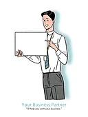 비즈니스, 플래카드 (안내판), 플래카드, 포인팅, 포인팅 (손짓), 밝은표정, 비즈니스맨