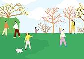 풍경 (컨셉), 사람들, 마스크 (방호용품), 봄, 공원