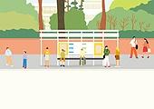 풍경 (컨셉), 사람들, 마스크 (방호용품), 봄, 버스정류장 (인공구조물)